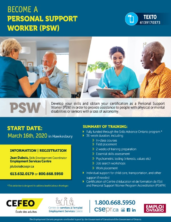 Become a personal support worker (PSW)